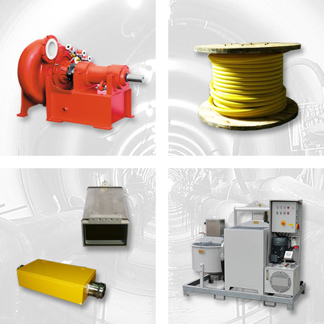 Feed- and Discharge Pumps, Cables and Connection Boxes 960V, Laser Targets, Bentonite Units